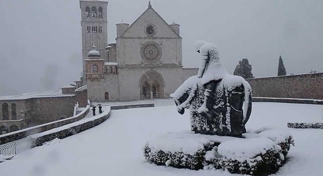 San Francesco d'Assisi tentato dal diavolo si getta nella neve
